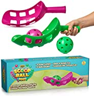 YoYa Toys Scoop Ball Game Outdoor Toy for Kids and Adults - Jai Alai Thrower with 2 Balls - PVC Carry Bag - Toss and Catch S