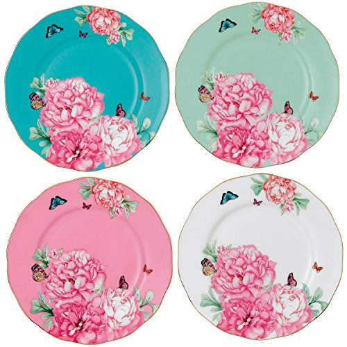 Royal Albert 40001825 Friendship Accent Plate Designed by Miranda Kerr, 8-Inch, Set of 4 (Peony Accent Plate)