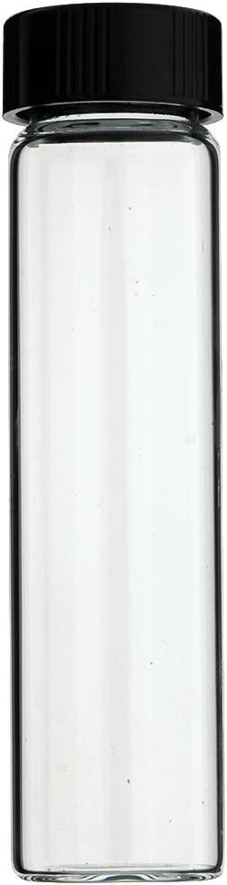 144-PC 4 DRAM 15 ml 1 2 oz CLEAR GLASS VIALS WITH BLACK SCREW CAPS – MADE IN USA