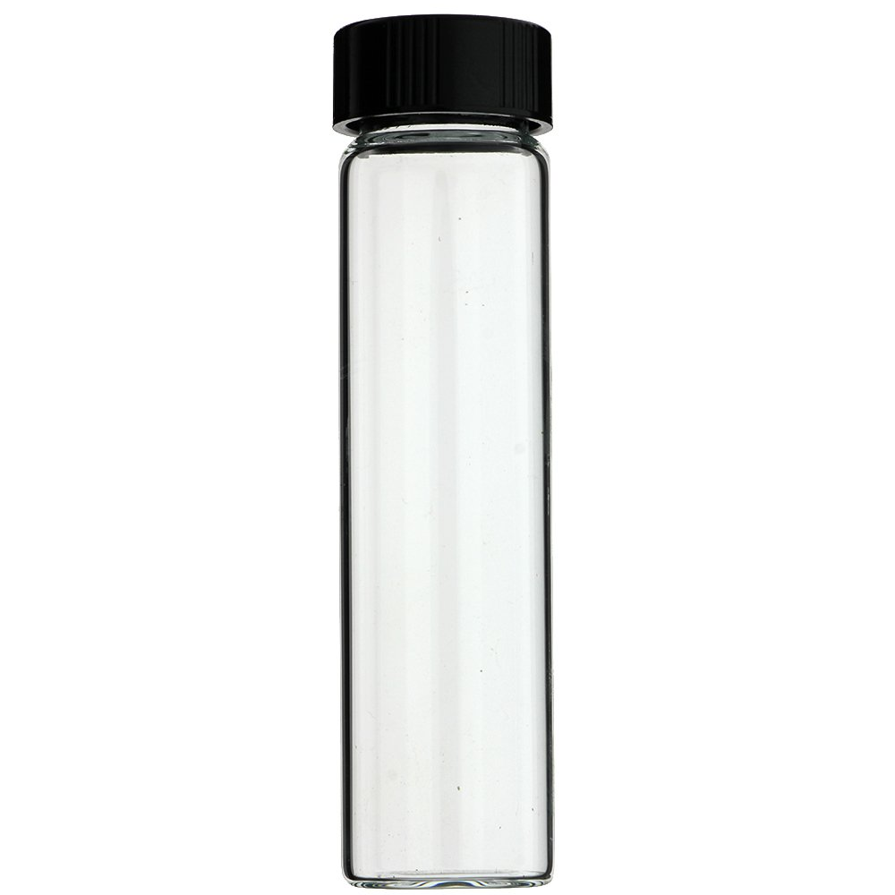 144-PC 4 DRAM 15 ml 1/2 oz CLEAR GLASS VIALS WITH BLACK SCREW CAPS - MADE IN USA