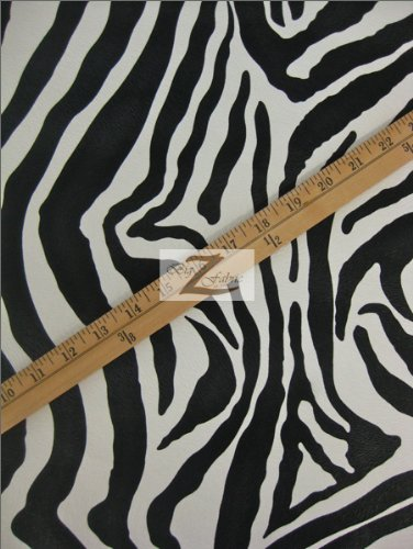 (Zebra Print Faux Leather/Vinyl Fabric - White/Black Stripes - Sold BTY)