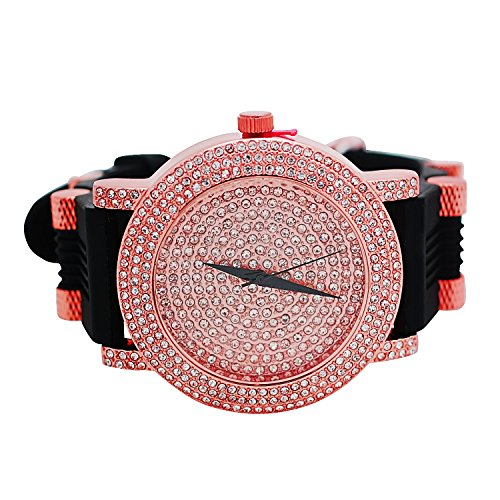Techno Pave Designer Style Big Face Totally Iced Out 9 Row Simulated Diamonds Rose Gold Plated Dial Wtach with Black Bullet Band