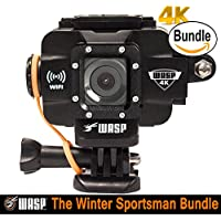 WASPcam 4K 9907 Action-Sports Camera, Black (The Winter Sportsman Bundle)