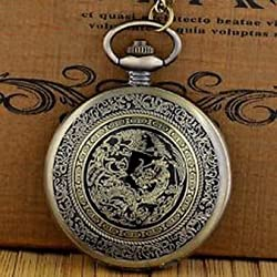 Pixle Pocket Watch - Antique Bronze Nightmare Before Christmas Pocket Watch Quartz Necklace Chain