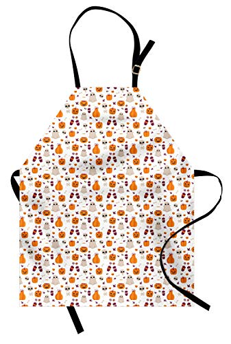 Ambesonne Ghost Apron, Cartoon Pattern of Pumpkin Ghost Skull and Other Elements Inspired by Halloween Party, Unisex Kitchen Bib Apron with Adjustable Neck for Cooking Baking Gardening, Multicolor ()