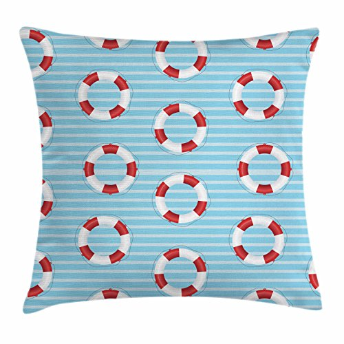 Buoy Throw Pillow Cushion Cover by Ambesonne, Life Preserver Crisis Security Lifejacket Lifeguard Danger Protection Symbols, Decorative Square Accent Pillow Case, 28 X 28 Inches, Baby Blue Red - City Lifeguard Party