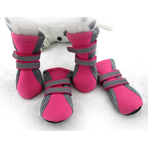 Ecloud Shop® Mascota del perrito del animal doméstico Botas zapatos de malla transpirable suela de goma antideslizante Soft (Rose Red-XL)
