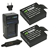 Wasabi Power Battery (2-Pack) and Charger for SJCAM M10, SJ4000, SJ5000 and More