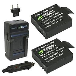 Wasabi Power Battery (2-pack) & Charger For Sjcam M10, Sj4000, Sj5000 & More