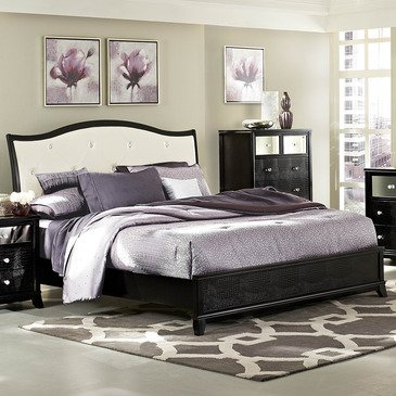 Homelegance Jacqueline Platform Bed W/ White Bi-Cast Vinyl Headboard In Black Faux Alligator - Queen
