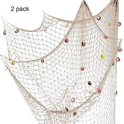 Nature Fish Net Wall Decoration with Shells, Ocean Themed Wall Hangings Fishing Net Party Decor for Pirate Party,Wedding,Photographing Decoration ¡­ (Fishnet-2pack-BE) ()