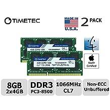 Timetec Hynix IC Apple 8GB Kit (2x4GB) DDR3 PC3-8500 1066MHz memory upgrade for iMac 21.5 inch/27 inch/20 inch/24 inch, MacBook Pro 13 inch/ 15 inch/ 17 inch, Mac mini 2009 2010 (8GB Kit (2x4GB))