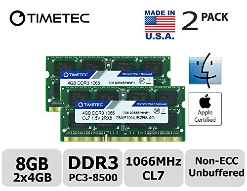 Timetec Hynix IC Apple 8GB Kit (2x4GB) DDR3 PC3-8500 1066MHz memory upgrade for iMac 21.5 inch/27 inch/20 inch/24 inch, MacBook Pro 13 inch/15 inch/17 inch, Mac mini 2009 2010 (8GB Kit (2x4GB))