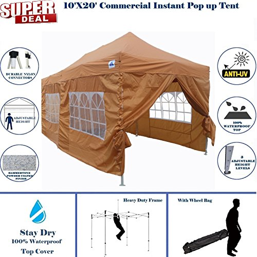 10'x20′ Pop up Canopy Wedding Party Tent Instant EZ UP Canopy Burnt Orange – F Model Commercial Grade Frame By DELTA Review