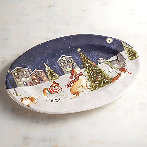 New Pier 1 Park Avenue Puppies Christmas Tree Oval Serving Platter Tray 16