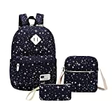 Sammid Travel Canvas Rucksack Backpacks,Fashion 3 Pack Casual Laptop Bag Crossbody Bag Pencil Case Teen Girls Boys - Blue