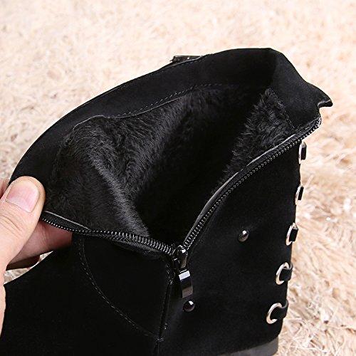 Delle Black Gli Heeled Tacchi KHSKX Scarpe Lato Cani Mangia Martin tassels Nuove Stivali Ogni Scamosciati Donna Da I Stivali High Uv41fq4RB