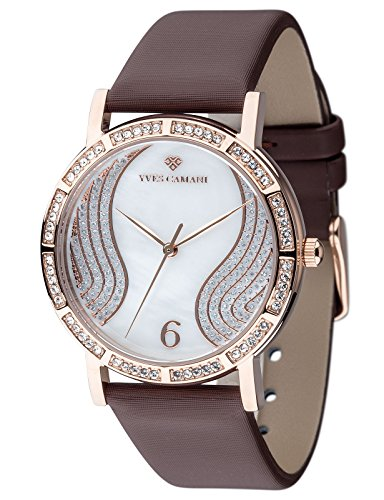 Yves Camani Mademoiselle Women's Wrist Watch Quartz Analog Dial Mother Of Pearl Rosegold Stainless Steel Casing & Brown Leather Strap