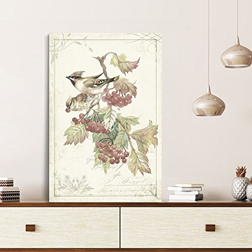 Vintage Style Birds Red Fruits on Floral Background