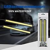 Moto Onfire 2pcs Waterproof Aluminum High Power 6W 6000K Xenon Slim COB LED DRL Daylight Driving Daytime Running Light for All Vehicles with 12V Power (White)