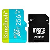 (US) Kingflash 256GB Micro SD Card Class10 Rose Memory Card Flash Card Memory Microsd for Smartphone Tablet PC (256GB, Blue)