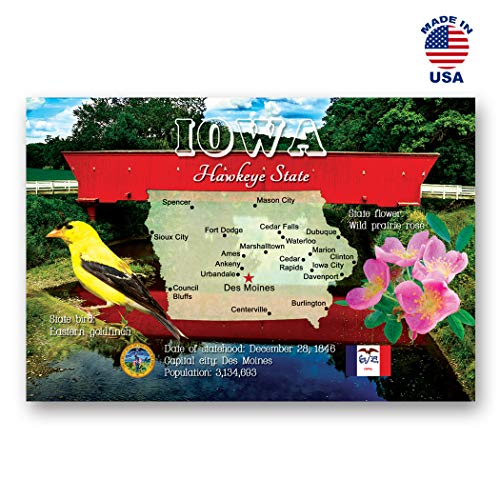 IOWA MAP postcard set of 20 identical postcards. IA state map post cards. Made in USA.