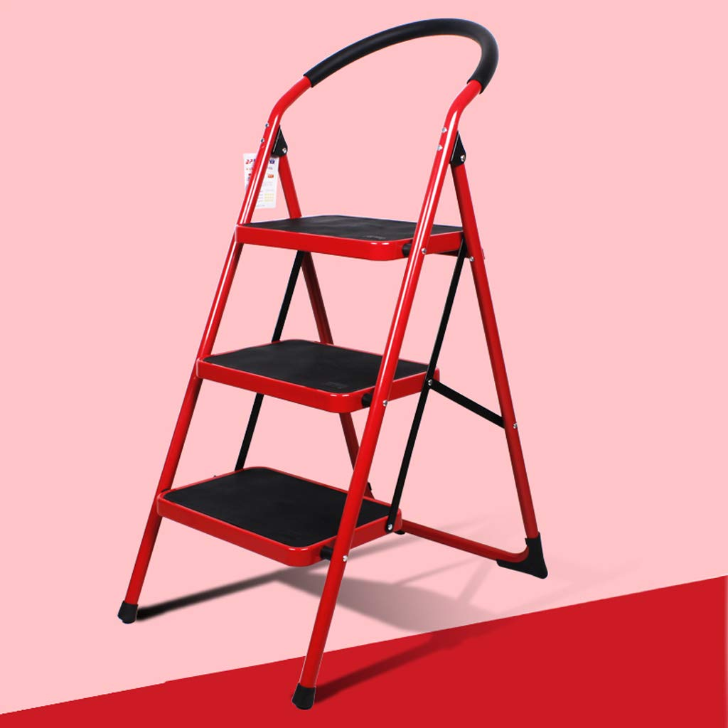 Red ZSPPPP Step Stools Step Stool Home Folding Ladder Ladder Thickening Climbing Ladder Three-Step Small Ladder Stool Indoor Multi-Function Staircase (color   bluee)