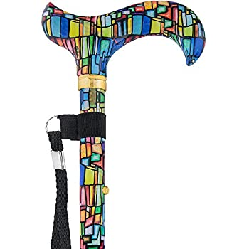 Mosaic Stained Window Folding Adjustable Derby Walking Cane with Engraved Collar