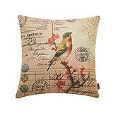 TRENDIN 18'' X 18'' Vintage Cute Bird on Red plum blossom Flowers Linen Throw Waist Pillow Case Cushion Cover(PL100)