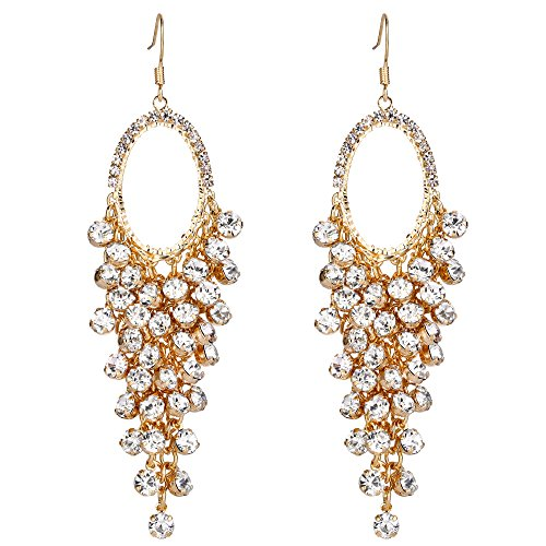 BriLove Women's Gold-Toned Dangle Earrings Bohemian Boho Crystal Open Hoop Cluster Beads Chandelier Hook Earrings Clear