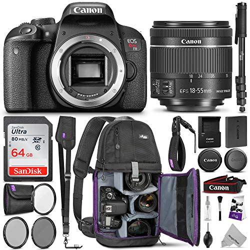 Canon EOS Rebel T7i DSLR Camera with 18-55mm is STM Lens w/Advanced Photo & Travel Bundle - Includes: Altura Photo Backpack, SanDisk 64gb SD Card, Monopod, Filter Kit, Neck Strap - Canon Dealers Authorized