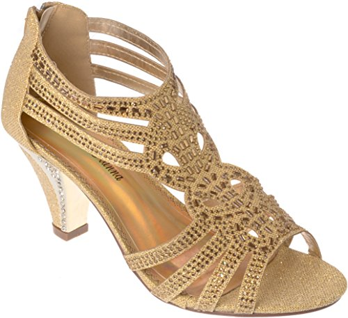 kinmi25 Women's Evening Sandal Rhinestone Gold Dress-Shoes Size 7.5 -