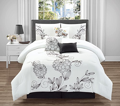 Gorgeous 7PC BEAUTIFUL Embroidery Complete Duvet Comforter Set Bedding Bed Dressing Cover W/ Decorative Pillows ,Pillow Shams and Bed Skirt New Elegant Designs in Queen and King (KING, HAMILTON) (Navy Toile Bedding)
