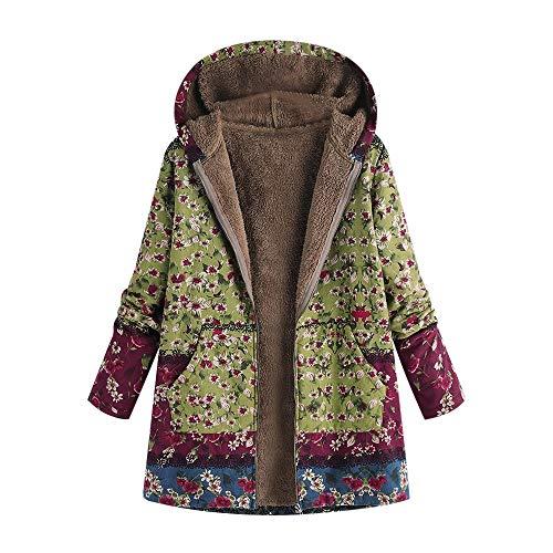 TOTOD Coats Parka Outwear Jacket Women Vintage Print Plus Size Flannel Lining Hooded Pocket Oversize Outercoat Overcoat