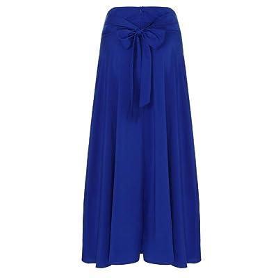 AIMEE7 Femmes Jupe Fashion Plissé Rétro Longue Maxi Jupe Confortable Pour Quotidien Porter Taille Haute Vintage Fille Elastique A-Line Elégant Chic Solide Court Jupe