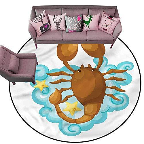 - Anti-Slip Coffee Table Floor Mats Zodiac Scorpio,Cartoon for Kids Diameter 72