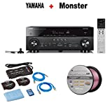 Yamaha AVENTAGE Audio & Video Component Receiver,Black (RX-A770BL) + Monster Home Theater Accessory Bundle + Monster - Platinum XP 50' Compact Speaker Cable Bundle