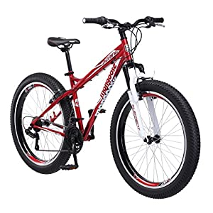 """Mongoose Bering 3"""" Fat Tire Bicycle 26"""" Wheel 18 inch/Medium Frame Size red"""