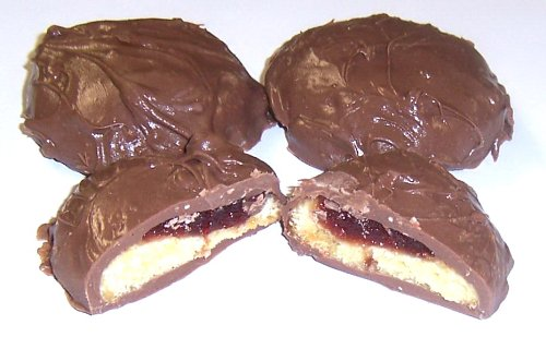 Scott's Cakes Milk Chocolate Covered Raspberry Butter Cookies in a 1 Pound White Bakery Box