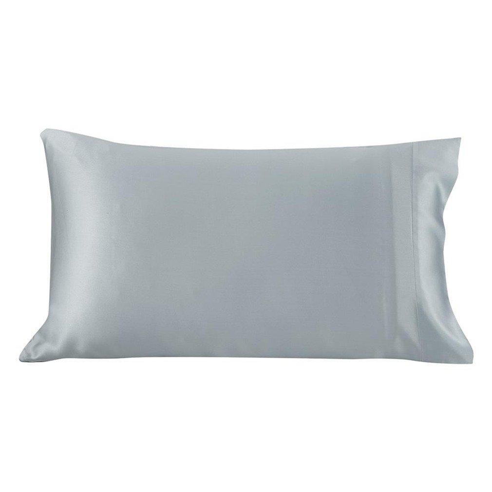 Lilysilk 100 Silk Cotton Pillowcase Hair Zipper Natural Mulberry Silk Pillow Cover 22 Momme Cotton Underside King Queen Silver Blue 70x90cm