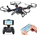 Holy Stone F181W Wifi FPV Drone with 720P Wide-Angle HD Camera Live Video RC Quadcopter with Altitude Hold, Gravity Sensor Function, RTF and Easy to Fly for Beginner, Compatible with VR Headset