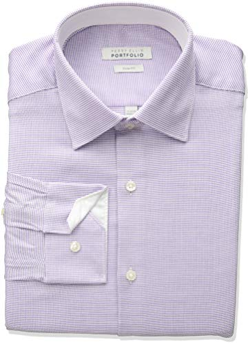 Perry Ellis Men's Slim Fit Wrinkle Free Dress Shirt, Purple Nailshead, 15.5 -
