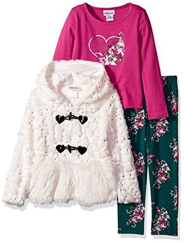 Little Lass Girls 3 Pc Sequin Fur Jacket Set