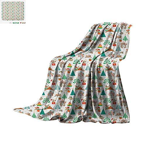 (Christmas Digital Printing Blanket Baby Kids Theme Xmas Cartoon Pattern Bear Deer Owl Birds Tree Snowflakes Image Oversized Travel Throw Cover Blanket 60