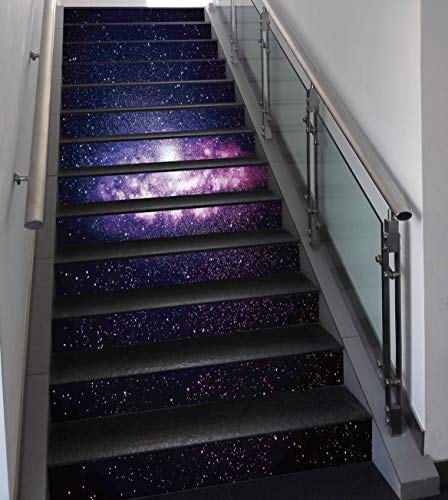 Stair Stickers Wall Stickers,13 PCS Self-adhesive,Galaxy,Nebula Cloud in Milky Way Infinity in Interstellar Solar System Design Print,Purple Dark Blue,Stair Riser Decal for Living Room, Hall, Kids Roo by SCOCICI