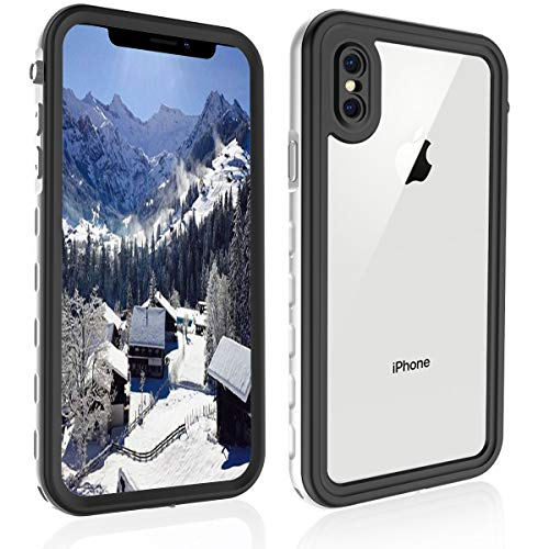WillBox Waterproof Case for iPhone XR 6.1 Inch 2018, Built-in Screen Protector with Support Wireless Charging IP68 Certified Waterproof Shockproof Snowproof Dustproof Case for iPhone XR (White)