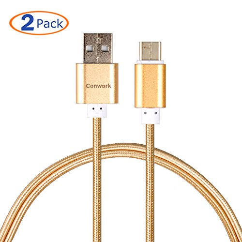 USB Type C Cable, Conwork [2-Pack] 5Ft Nylon Braided USB Type C Charger Cord with Premium Aluminum Connector For ChromeBook Pixel, Nokia N1 Tablet, Asus Zen AiO and Other Type C Devices (Gold)