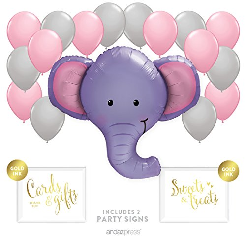 Andaz Press Balloon Party Kit with Signs, Girl Baby Shower, Elephant with Pink and Gray Balloons, Hanging Decor, Hanging Decorations, 19-Piece Kit, 1st (Elephant Balloons Baby Shower)