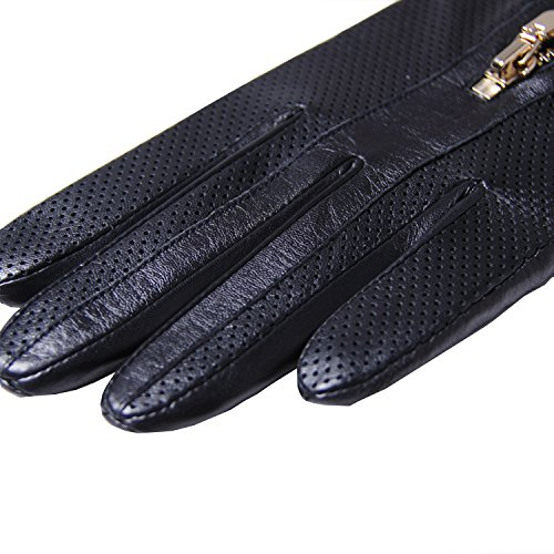 GSG Womens Trendy Italian Nappa Leather Driving Gloves Ladies Perforated Gloves Winter Zipper 7.5