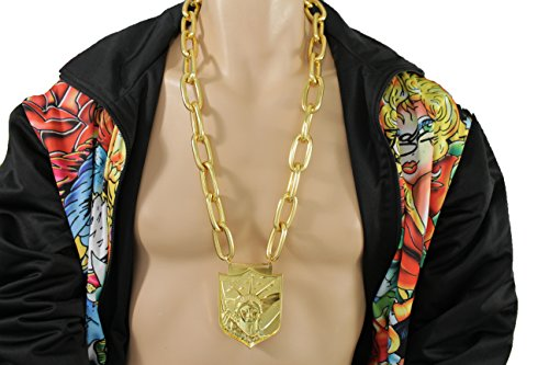 TFJ Men Fashion Long Necklace Gold Chunky Metal Chains Statue Liberty Pendant Hip Hop Miami Beach Jewelry